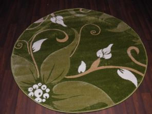 MODERN 140X140CM CIRCLE RUGS WOVEN BACK HAND CARVED LILY DESIGN GREENS/BEIGE